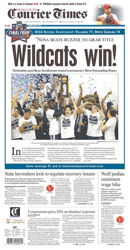 Bucks County Courier Times Villanova Cover