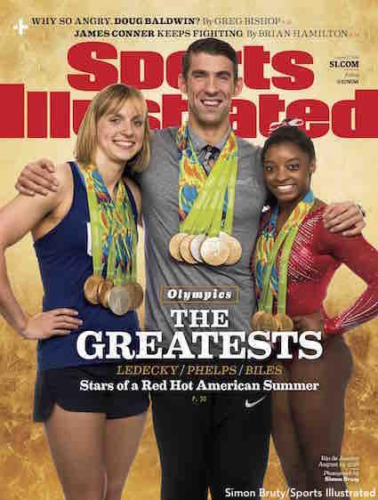 SI Olympics Cover Ledecky Phelps Biles