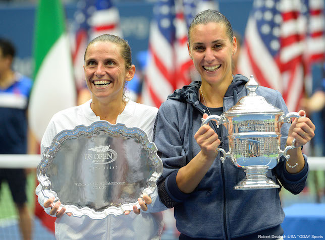 Flavia Pennetta And Roberta Vinci Trophies