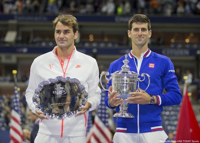 Novak Djokovic And Roger Federer Trophies