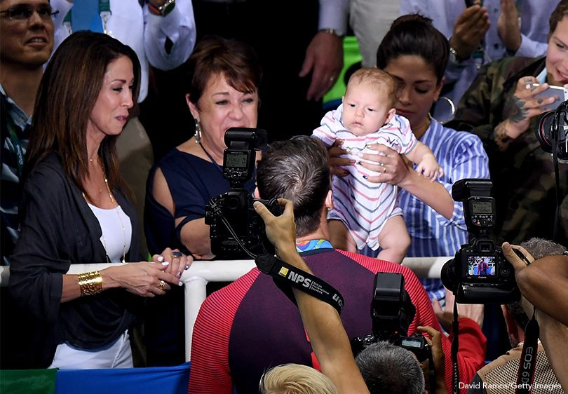 Michael Phelps With Mom And Son