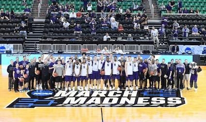Northwestern With March Madness Court Logo
