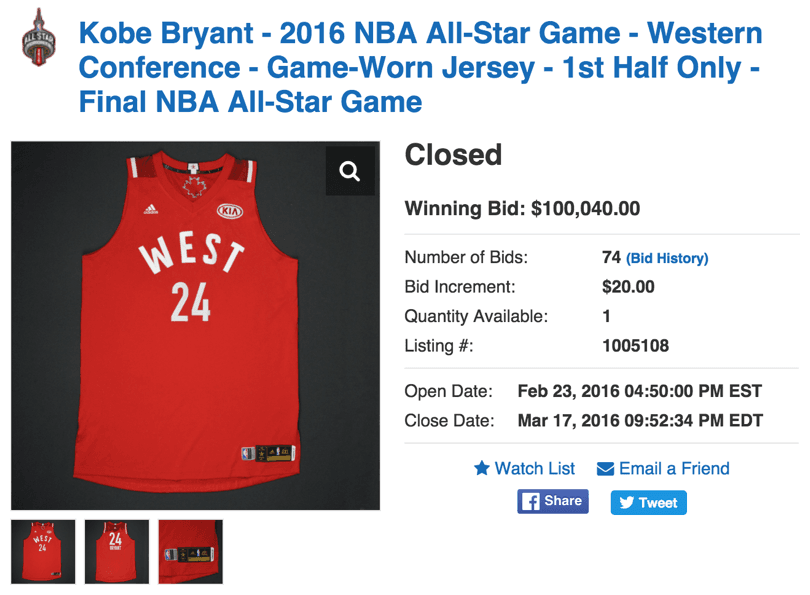 Kobe Bryant's All-Star Game Jersey Sets NBA Auction Record ...