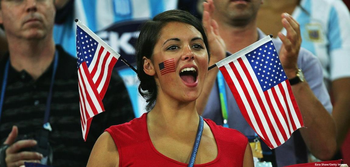 American Sports Fan With Flags